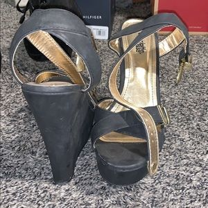 charlotte russe black and gold wedges.